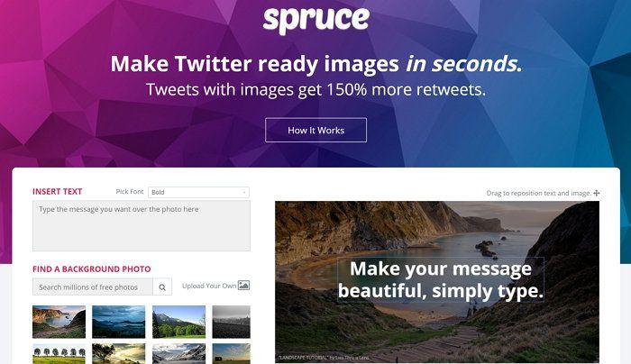 Spruce te deja agregar texto a una imagen para luego compartir en Twitter y Facebook