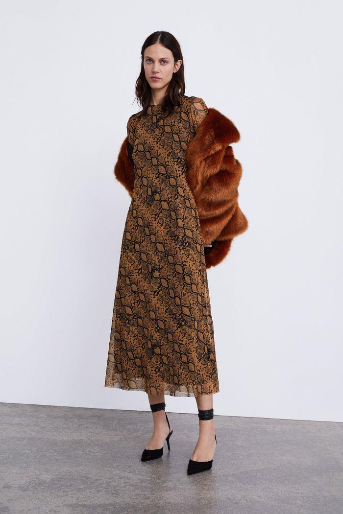 Zara Long Animal Print Dress Snake Print Dress Leopard Print Dress Print Dress