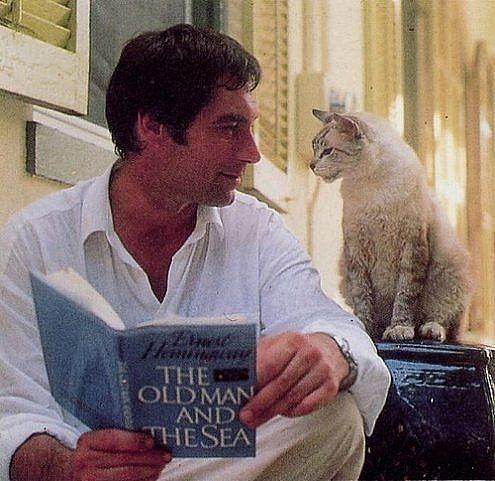 Actor Timothy Dalton..and cat :)
