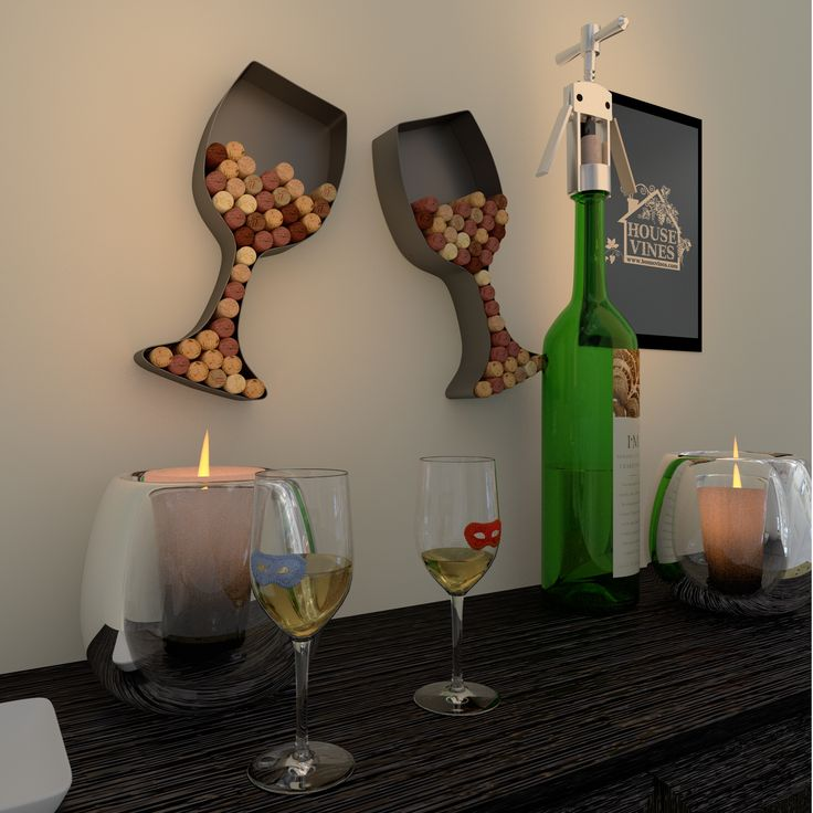 Wine Themed Kitchen Paint Ideas: Wine Glass Shaped Cork Holder • Wine Wall Décor Art