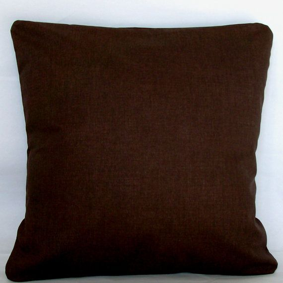 Dark Brown Pillow Cover - Solid - 22x22, 24x24 or Euro 26x26 inch Decorative Throw Cushion Cover - Chocolate Brown, More Sizes Available