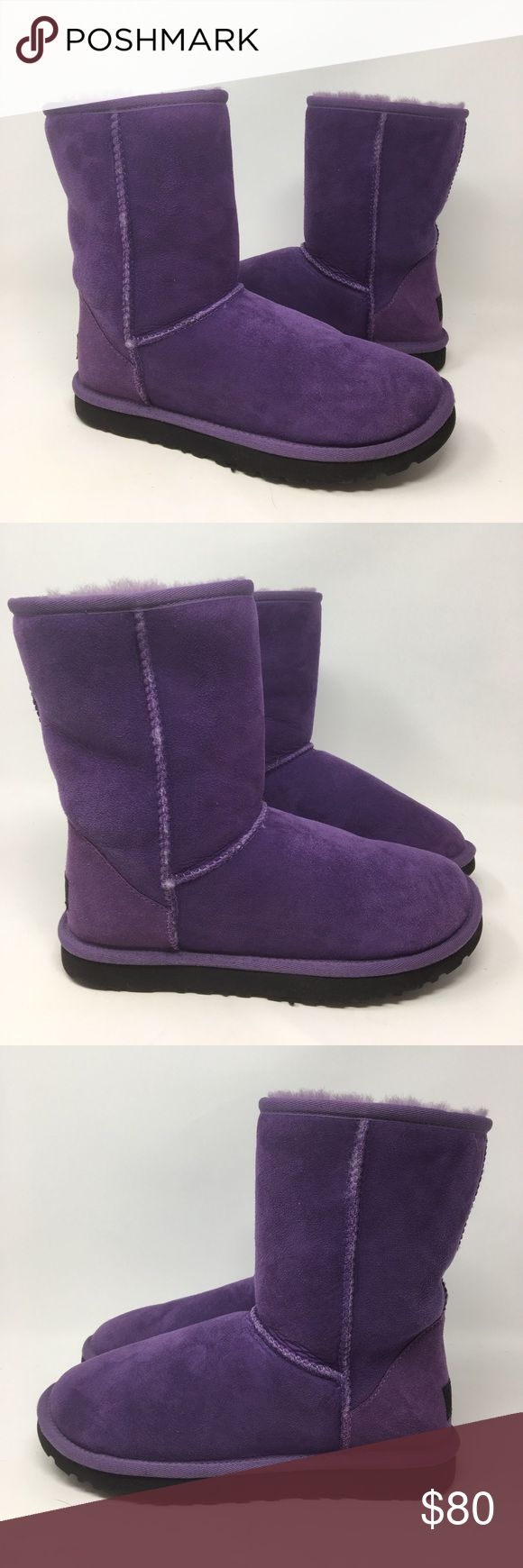 Women's Purple Ugg Classic Short Boots Women's Purple Ugg Classic Short Boots. Size 6. Like new - worn about maybe 1-2 times. PLEASE NO TRADES! UGG Shoes Winter & Rain Boots
