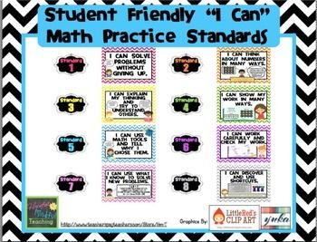 "Chevron ""I Can"" Common Core Math Practice Standards (Stude"