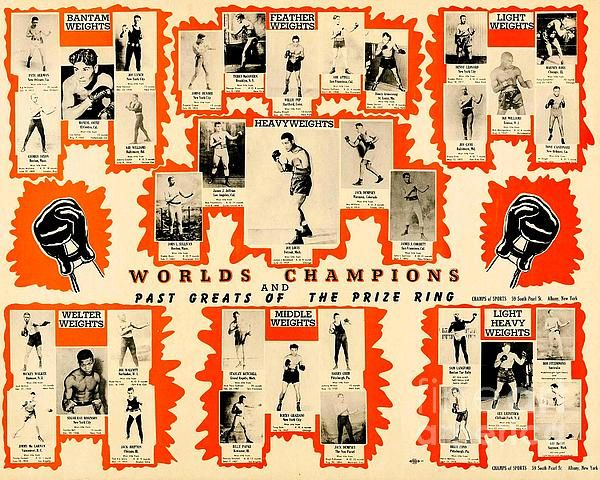 World Champion Prizefighting montage poster from 1947. Boxing memorabilia and boxing history.