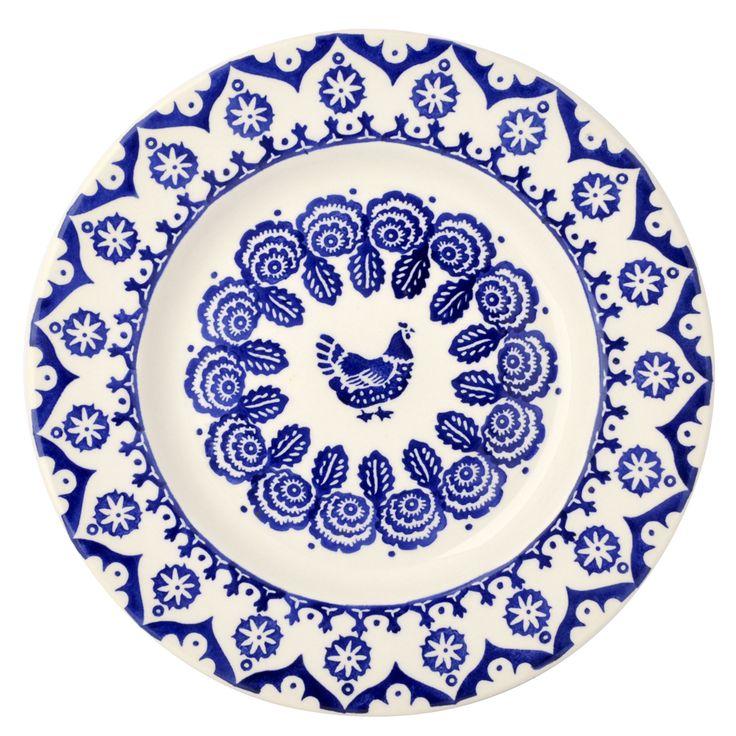 """Blue Hen & Border 10 1/2"""" Plate"""