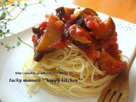 茄子とトマト水煮缶で!夏野菜の冷製パスタ