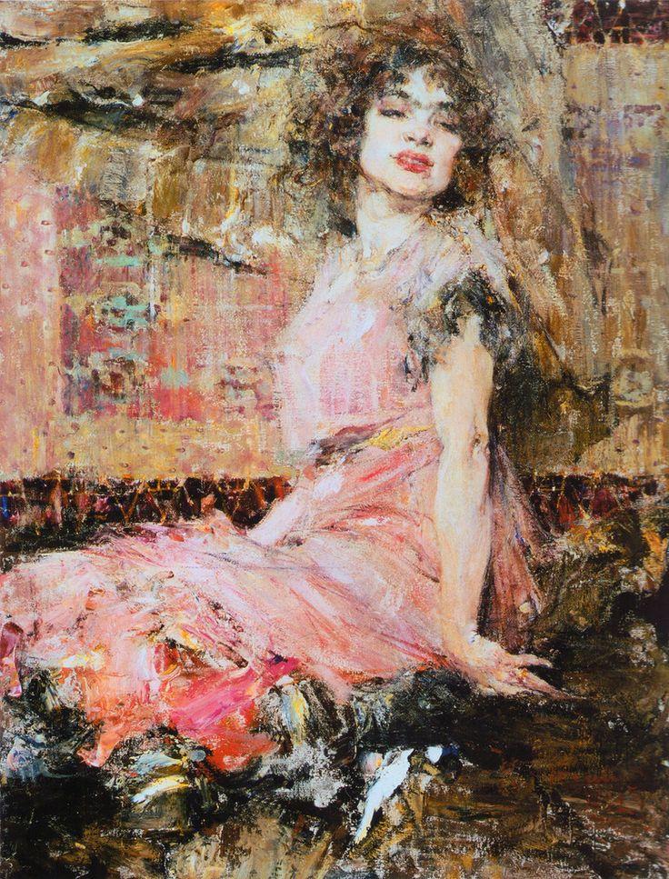 Дама в розовом (Портрет Н.Подбельской) (1912). Фешин Николай Иванович