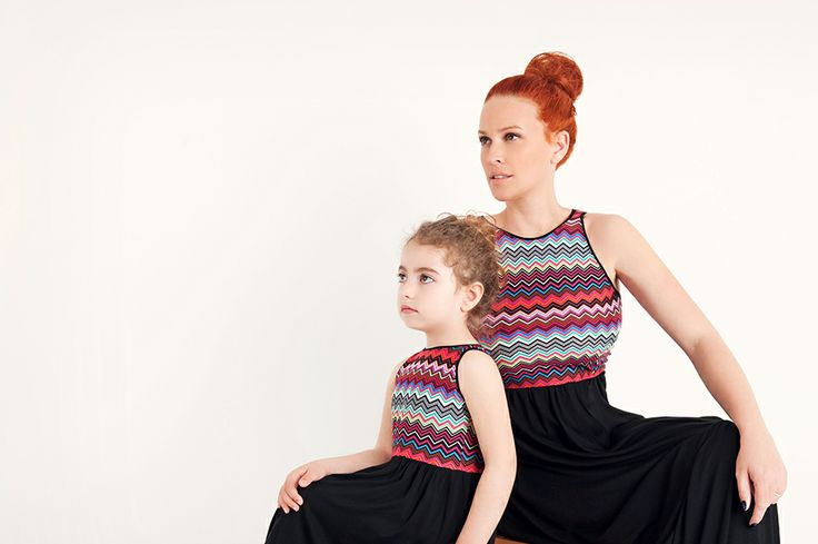 Dress for mummy and me with ethnic print at the top and solid black skirt #Minisize #SS14 #Spring #Summer  Set: http://www.minisize-sissychristidou.gr/el/set.html?p=1