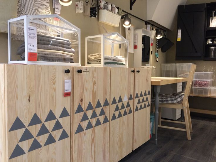 Stamp grey triangles on IKEA IVAR doors and you'll get this Scandinavian effect. #storage IKEA Zwolle #interiordesign #JanineJacobs