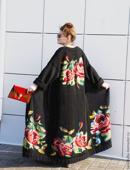 Кофты и свитера ручной работы. Пальто вязанное с розами. Alena Barabulka. Ярмарка Мастеров. Розы, кардиган с цветами, мохер