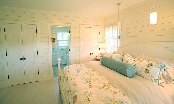 I like the simplicity but maybe a lighter shade of the roll pillow on walls and inner door panels plus a nice sized white washed aqua framed beach print over the bed.: Guest Room, Closet Doors, Beach House, Beach Bedrooms, Coastal Living, Coastal Beach, Bedroom Ideas