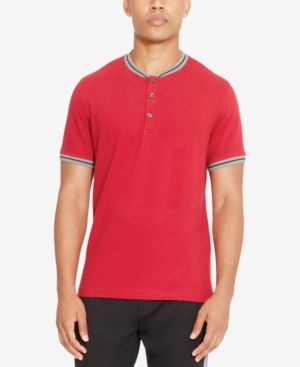 Kenneth Cole Reaction Men's Henley Shirt - Red XXL
