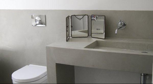 Baños De Microcemento:Lavabo de cemento pulido