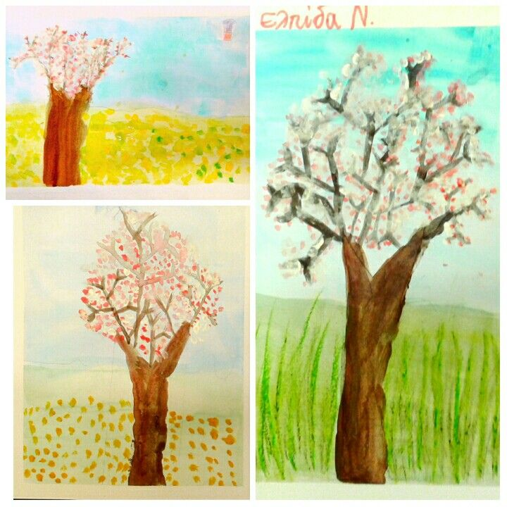 Almond tree project. These almond trees were painted by my 6-year-old students. We used Y to draw the branches and they were really proud of the outcome. So was I!