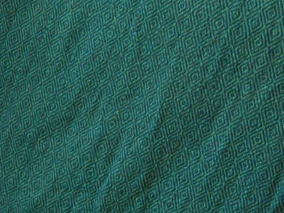 Hear the gleeful squeeing - this is *mine*!!!   Hand woven, Hand dyed Wool, Medium/Dark Green in the Diamond Twill Weave, Garment weight