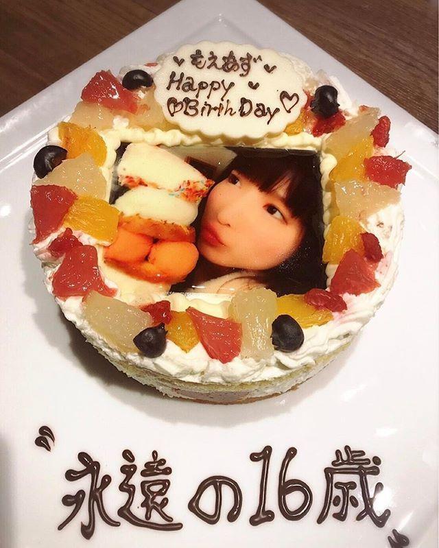 WEBSTA @ moeazukitty - 顔写真ケーキ可愛すぎる😚💓さなちゃんありがとう😂💕#顔写真ケーキ#永遠の16歳#本当は13歳になりたい#ピーターパン症候群#大見さなえ