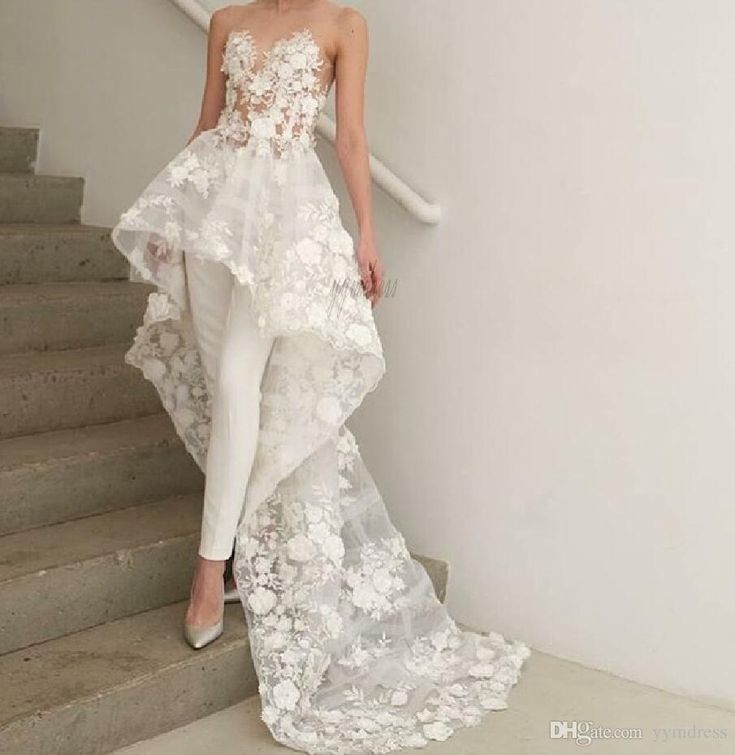 Elegant Overskirts Jumpsuits Wedding Dresses 2019 New Sheer Sweetheart Neck Lace…