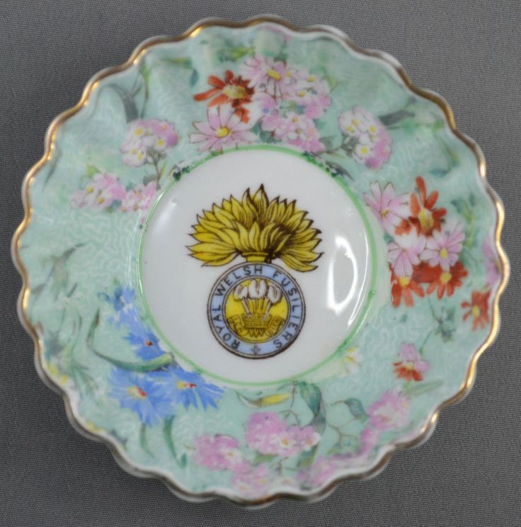 SHELLEY England MELODY CHINTZ  ROYAL WELSH FUSILIERS Military DISH
