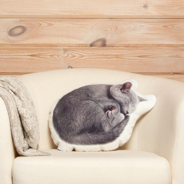 Cushions & pillows – Grey Cat Pillow – Cat Lover Gift, Linen Cushion – a unique product by Casacova on DaWanda