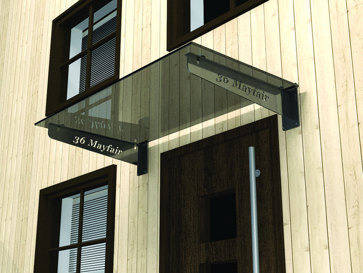Glass Door Canopy With Laser Cut Lettering To Customise. In 3 Stock Sizes  Or Bespoke