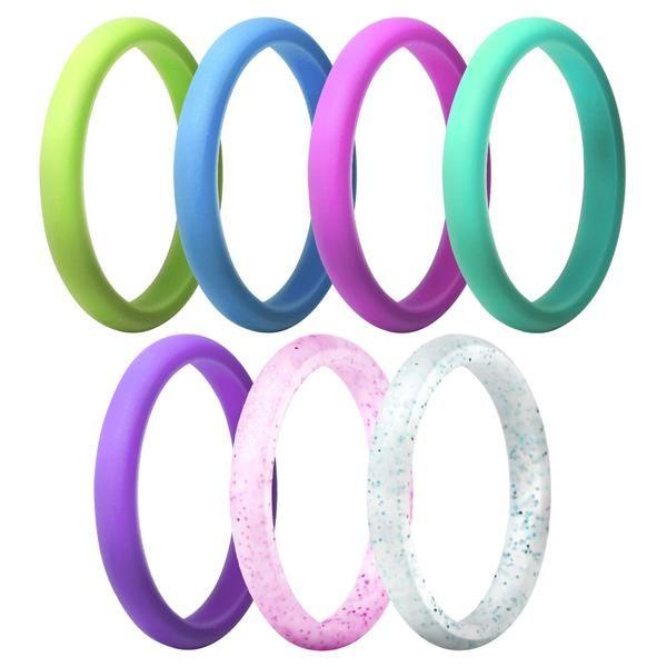 Stackable 7 Rings Pack Ocean Silicone Rings Wedding Bands Silicone Wedding Band Silicone Rings