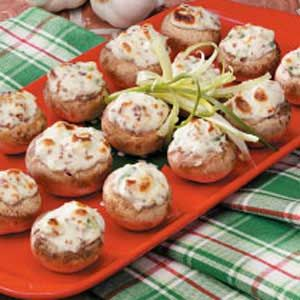 Bacon-Stuffed Mushrooms Recipe -I first tried these broiled treats at my sister-in-law's house. The juicy mushroom caps and creamy filling were so fabulous that I had to get the recipe. It's hard to believe how simple, fast and easy they are. -Angela Coffman Stewartsville, Missouri