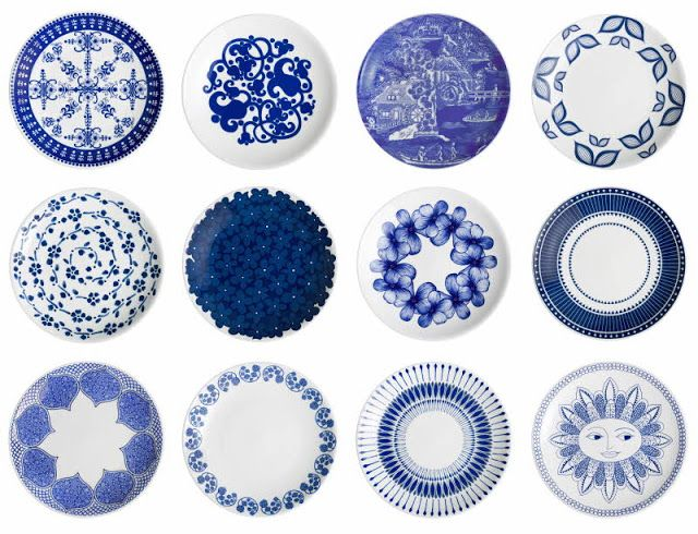 Blue and white plate series illustrated by designer Johanna Kunelius to celebrate 140 years of Arabia porcelain factory.