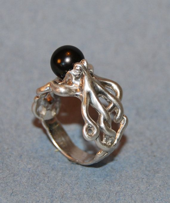 Octopus and Black Pearl ring in Sterling by StonesmithGalleries, $150.00   i have to get this for my sister