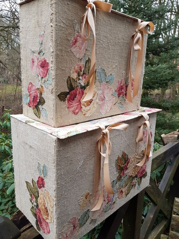 Fabrics covered boxes by Beata Jarmolowska  Linen and hemp plus old cardboard boxes