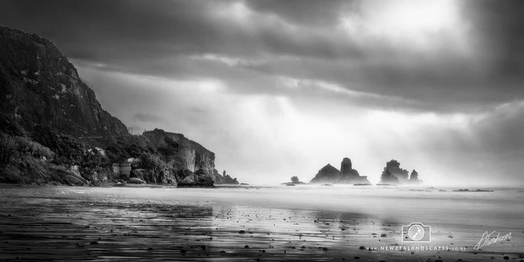 Black and white photo of beach and Punakaiki Rocks, West Coast.
