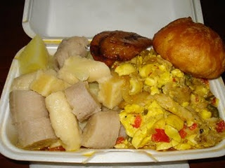 REAL Jamaican food! - Ackee & Saltfish with fried dumpling, yellow yam, boiled banana, dasheen and fried plantain = THE LIFE!!!