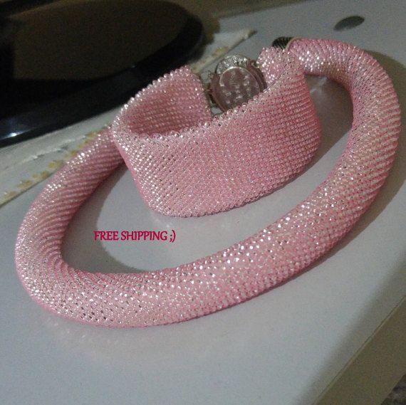 CLEARANCE SALE Beaded Jewelry Set Pink Bead crochet