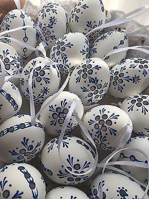 "Czech traditional Easter Egg ""Kraslice"" (Moravia, Europe)-white/blue Madeira"
