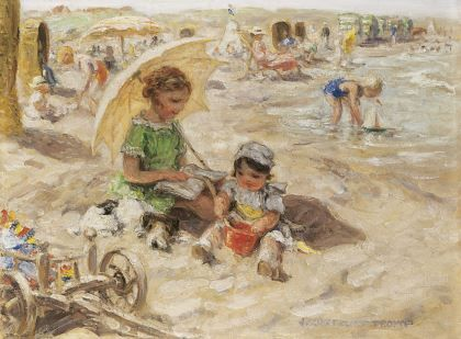 Johannes 'Jan' Zoetelief Tromp (1872-1947) A day at the beach, oil on canvas. Collection Simonis & Buunk, The Netherlands
