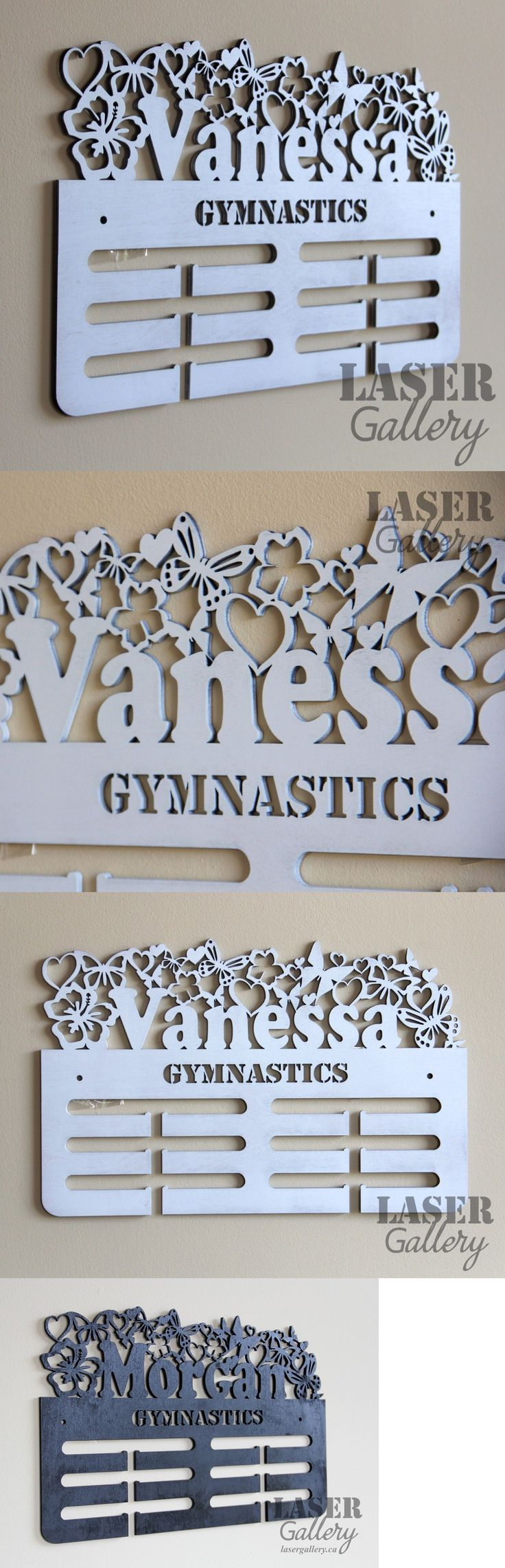 Novelties and Gifts 159172: Custom Gymnastics Butterfly Medal Hanger 16X9 - Laser Cut Medal Display Rack BUY IT NOW ONLY: $55.0