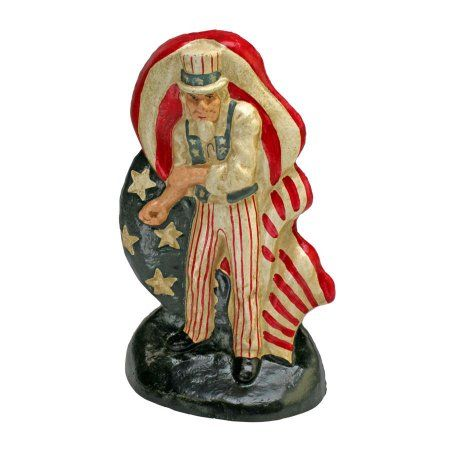 Fighting Uncle Sam Cast Iron Bookend and Doorstop Sculpture: Set of Two