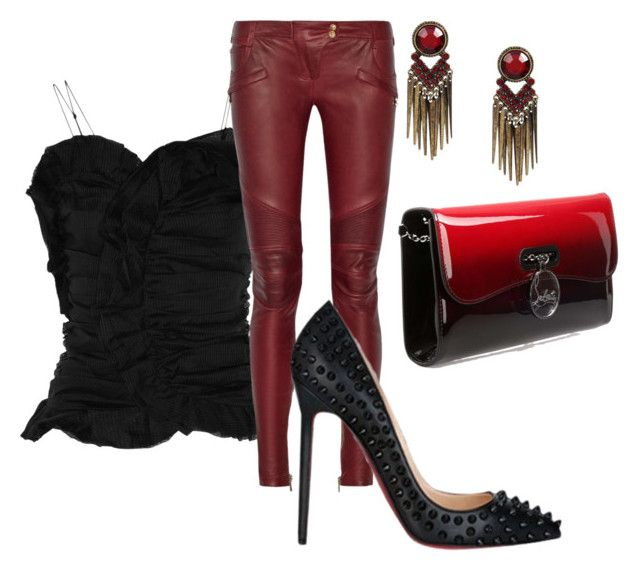 """""""Loub love❤️"""" by gonnadressyouup on Polyvore featuring Isabel Marant, Balmain, Christian Louboutin and Louboutin"""