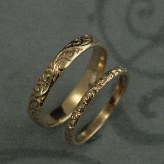 Patterned Wedding Band Set-Vintage Style Wedding Rings-His