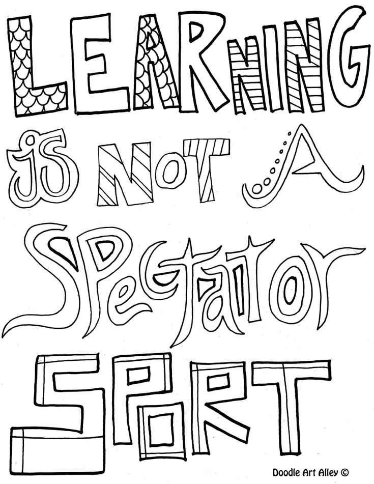 Coloring Pages Quotes : Learning is not a spectator sport coloring pages for
