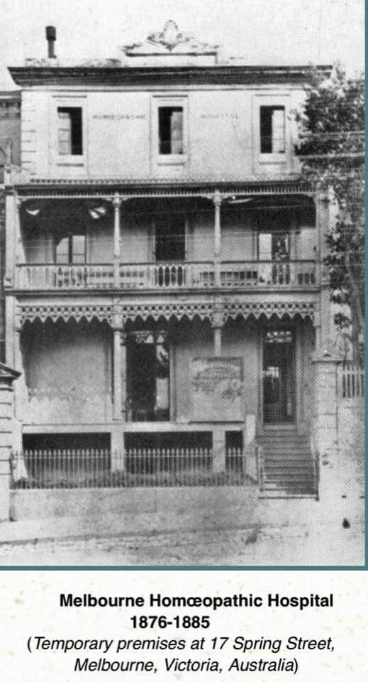 An earlier home of the Homoeopathic Hospital at 17 Spring St,Melbourne before it moved into its own buildings in St Kilda Road.This was formerly the Sick Children's Hospital.