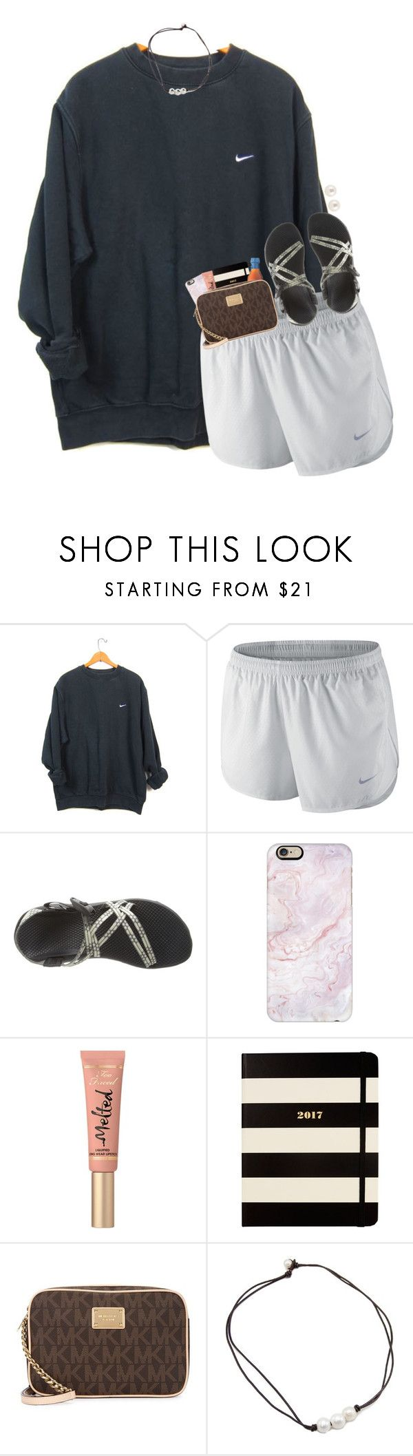 """""""currently watching AGT with my sister"""" by hmcdaniel01 ❤ liked on Polyvore featuring NIKE, Chaco, Casetify, Too Faced Cosmetics, Kate Spade, Michael Kors and Henri Bendel"""