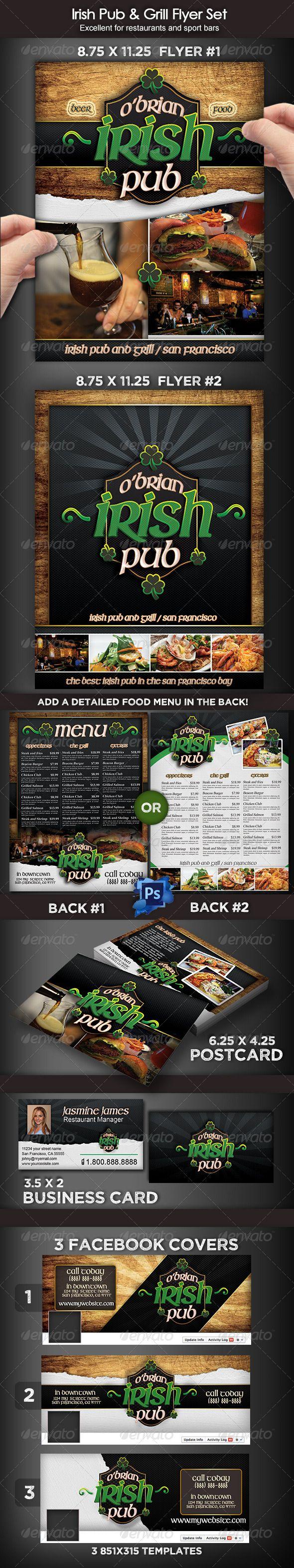 Irish Pub & Grill Flyer Set Template #design Download: http://graphicriver.net/item/irish-pub-grill-flyer-set/8191080?ref=ksioks