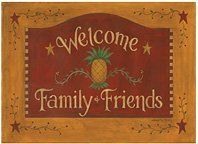 Mat - Welcome Family & Friends Pineapple Door Mat by C.R.. $19.95. Made in the USA from recycled tires!. Welcome Family & Friends In Style. Non-sid 100% recycled rubber back. Decorative Mat features art of Diana Swartz. Our country floor mats are the perfect finishing touch to any room or doorway! Polyester fabric front is fade, stain and water resistant, and features a charming greeting designed by folk artist Dianna Swartz. Non-skid 100% recycled rubber backing keeps it fir...