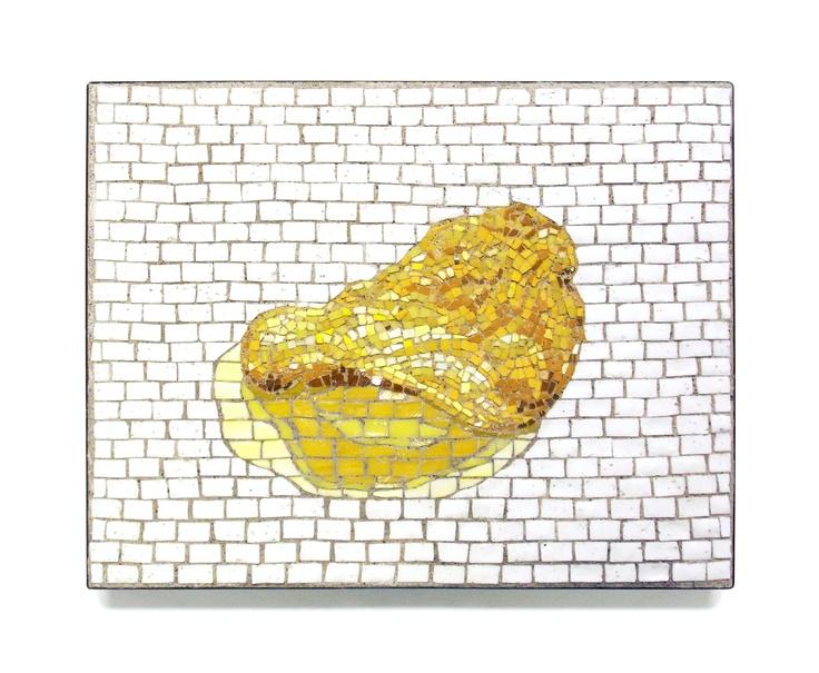 """""""Super-realistic Potato Chip""""  11"""" x 14""""    2012    Smalti   http://restreet.altervista.org/jim-bachor-ripara-le-buche-delle-strade-con-i-mosaici/"""