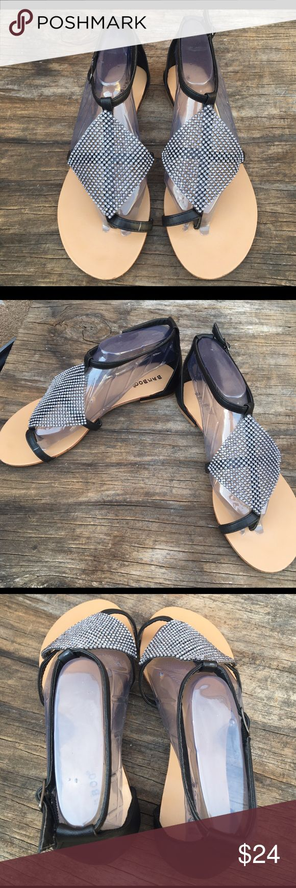 Bamboo women sandals Beautiful tan sandals with black tongue with awesome stones on it bamboo Shoes Sandals