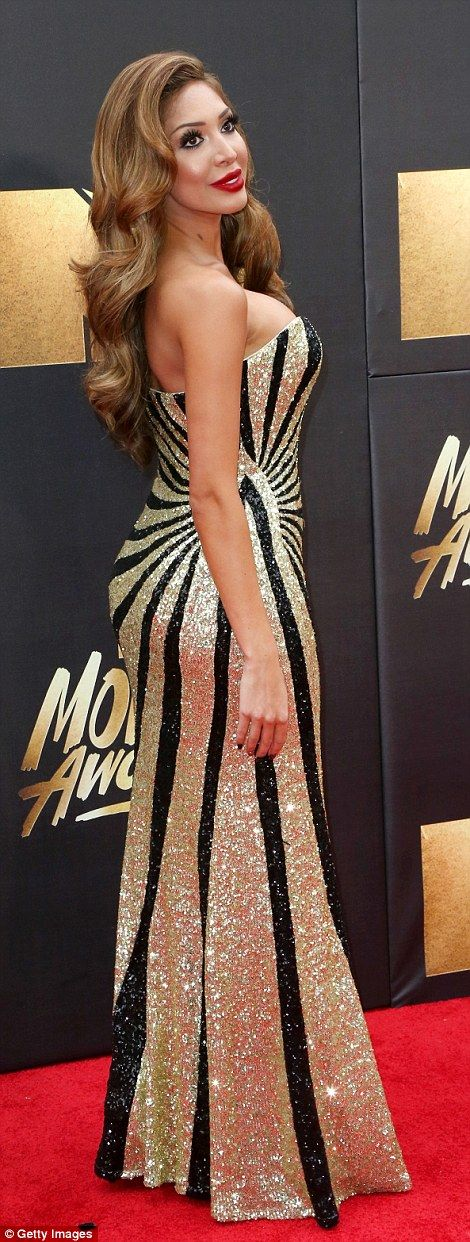 Shimmering: Farrah Abraham, 24, went for all-out Hollywood glamour in a sparkling strapless number as she arrived at the MTV Movie Awards in Los Angeles on Saturday