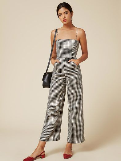 Jumpsuits: one step to cute outfit. This is a smocked back jumpsuit with a cropped, palazzo leg and a straight neckline.