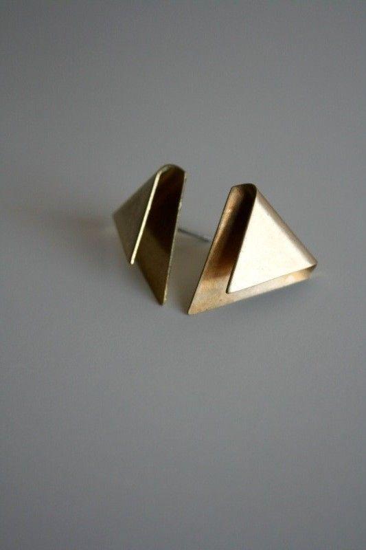 Triangle Fold Earrings by LauraLombardiJewelry on Etsy