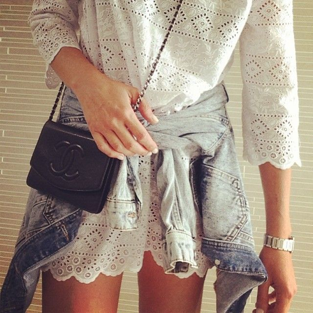 White lace with denim and a hint of #Chanel #sportscraft by tashsefton