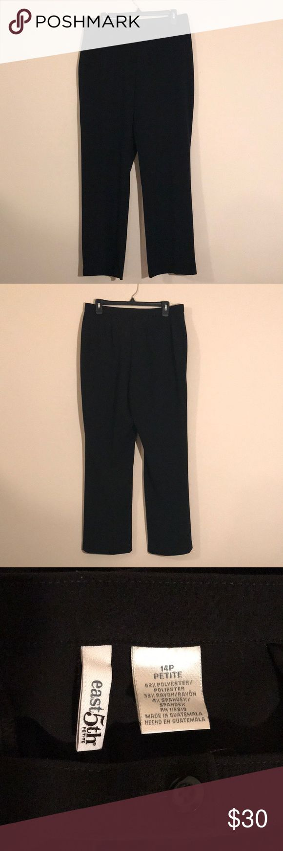 East 5th Dress Pants East 5th Black Size 14P Petite dress pants - one fake back pocket - button, metal clasp, and zipper - like new! Feel free to ask any questions! Sorry, no trades. East 5th Pants Trousers